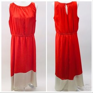 LOFT Orange Maxi High Low Dress 16